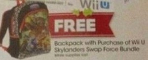 Backpack w/ Purchase of Wii U Skylanders SWAP Force Bundle