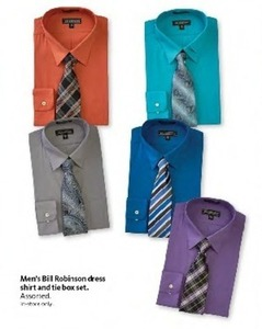 Men's Bill Robinson Dress Shirt & Tie Box Set