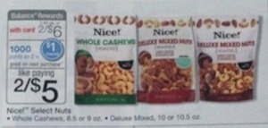Nce! Whole Cashews 8.5 or 9 oz. w/ Card + 1K Rewards