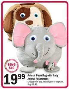 Animal Bean Bag with Baby Animal Assortment