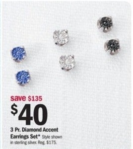 Diamond Accent Three Pair Earring Set