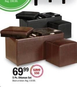 5-Pc. Ottoman Set - Brown