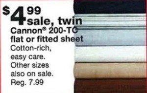 Cannon Twin 200-Thread Count Flat Sheet