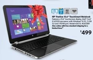"HP Pavilion 15-n047cl 15.6"" Touchscreen Laptop w/ 6GB Mem + 750GB HDD"
