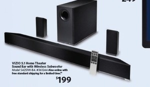 "VIZIO 42"" 5.1 Home Theater Sound Bar w/ Wireless Subwoofer & Surrounds"