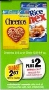 Cheerios 8.9oz or Rice Chex 12.6-14oz Cereal + $2 ExtraBucks
