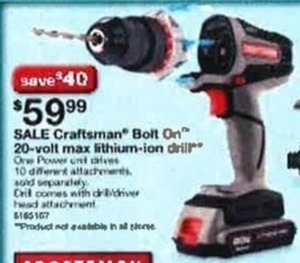Craftsman Bolt On 20-Volt Max Lithium-Ion Drill