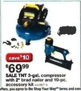 "TNT 3-Gal. Compressor w/ 2"" Brad Nailer & 10-Piece Accessory Kit"