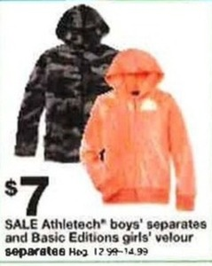 Athletech Boys' Separates & Basic Editions Girls' Velour Seperates