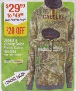 Cabela's Varsity Color Phase Camo Hoodies