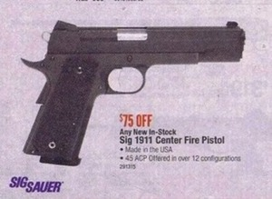 Any New In-Stock Sig 1911 Center Fire Pistol