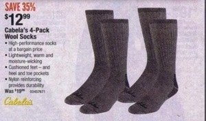 Cabela's 4-Pack Wool Socks