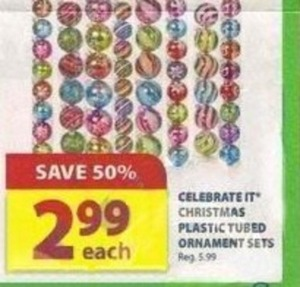 Celebrate IT Christmas Plastic Tubed Ornament Sets