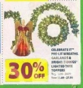 Celebrate IT Pre-Lit Wreaths, Garlands & Lighted Tree Toppers