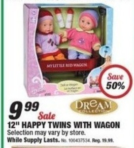 "Dream Collection 12"" Happy Twins w/ Wagon"