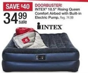 "Intex 18.5"" Rising Queen Comfort Airbed w/ Electric Pump"