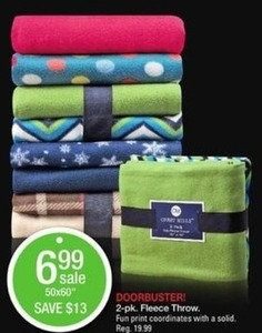 2 pk Fleece Throw