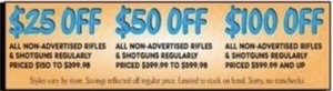 All Non-Advertised Rifles & Shotguns Regularly Priced $399.99 to $599.98
