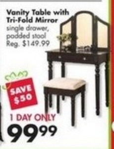 Vanity Table w/ Tri-Fold Mirror