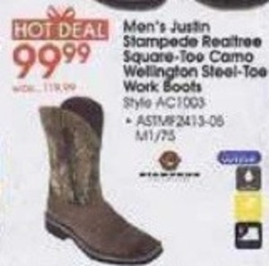 Men's Justin Stampede Realtree Wellington Steel-Toe Work Boots