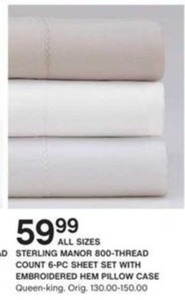 Sterling Manor 800TC 6-PC Sheet Set w/ Embroidered Hem Pillow Case (All Sizes)