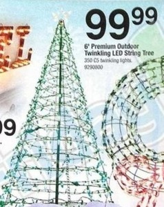 6' Premium Outdoor Twinkling LED String Tree