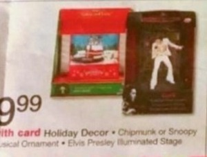 Chipmunk or Snoopy Musical Ornament or Elvis Presley Illuminated Stage