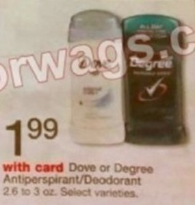 Dove or Degree Antiperspirant/Deodorant