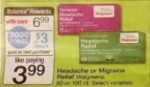 Walgreens 80 or 100-Count Headache or Migraine Relief + $3 Register Rewards