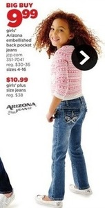 Arizona Girls' Embellished Back Pocket Jeans