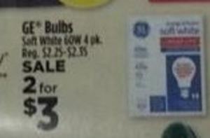 GE Bulbs Soft White 60W 4 Pack