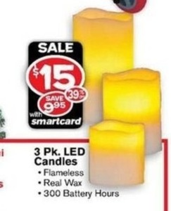3 Pack LED Candles w/ Smartcard