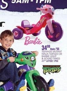 Teenage Mutant Ninja Turtles or Barbie Light & Sound Trikes