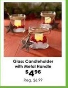 Glass Candleholder w/ Metal Handle