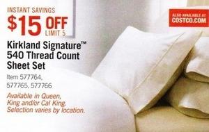 Kirkland Signature 540 Thread Count Sheet Set