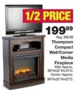 Thompson Compact Wall/Corner Media Fireplace