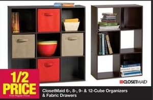 ClosetMaid 6-, 8-, 9- & 12-Cube Organizers & Fabric Drawers