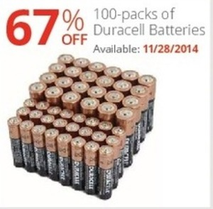 100-packs of Duracell Batteries (Starts 11/28)