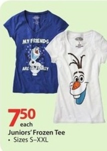 Juniors' Frozen Tee
