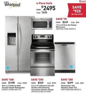 Whirlpool 20.6 cu. ft. Refrigerator, Range, Dishwasher & Microwave