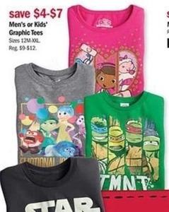 Men's or Kids' Graphic Tees