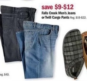 Falls Creek Men's Jeans or Twill Crago Pants