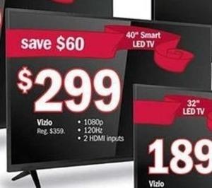 """Vizio 40"""" 1080p 120Hz Smart LED HDTV"""