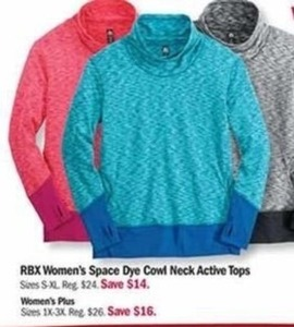 RBX Women's Space Dye Cowl Neck Active Tops
