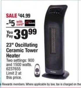 "23"" Oscillating Ceramic Tower Heater"