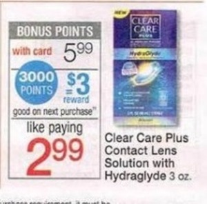 Clear Care Plus Contact Lens Solution w/ Hydraglyde w/ Card + $3 Register Reward