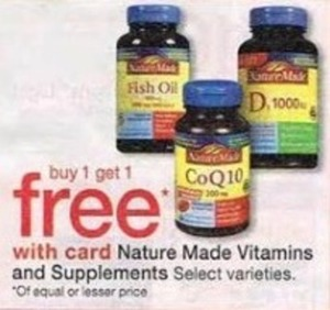 Nature Made Vitamins and Supplements w/ Card