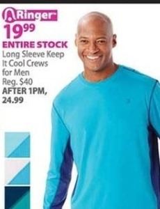 Entire Stock of Long Sleeve Keep it Cool Men's Crews