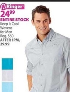 Entire Stock of Men's Keep It Cool Wovens