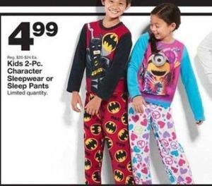 Kids 2-PC. Character Sleepwear of Sleep Pants